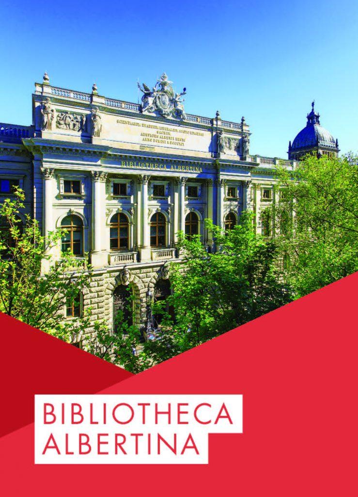"""Das Titelblatt der Broschüre über die Bibliotheca Albertina: Das Gebäude ragt aus Baumkronen hervor, darunter steht auf rotem Grund """"BIBLIOTHECA ALBERTINA""""."""